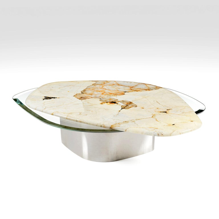 Brushed The Elements Modern Center Table Ft. Patagonia, Glass & Steel by Grzegorz Majka For Sale