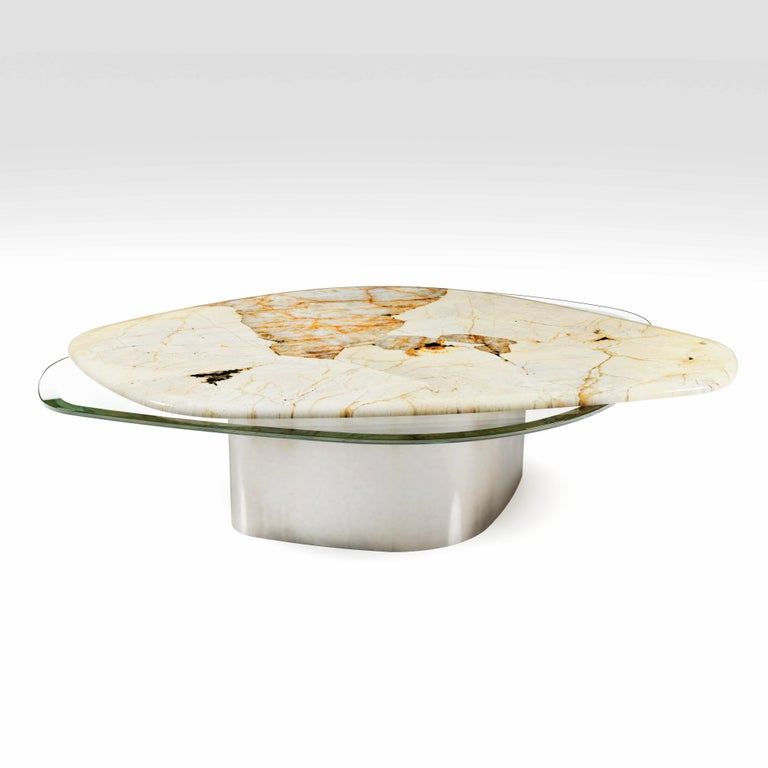 The Elements Modern Center Table Ft. Patagonia, Glass & Steel by Grzegorz Majka In New Condition For Sale In London, GB