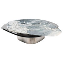 """Elements IX"" Modern Center Table ft. Quartzite, Glass & Steel by Grzegorz Majka"