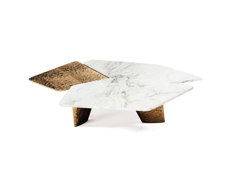 21st Century Modern Quartzit Brass Coffee Table