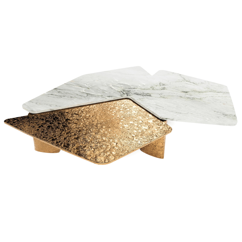 """""""Elements I"""" Contemporary Quartzite & Brass Coffee Table by Grzegorz Majka"""
