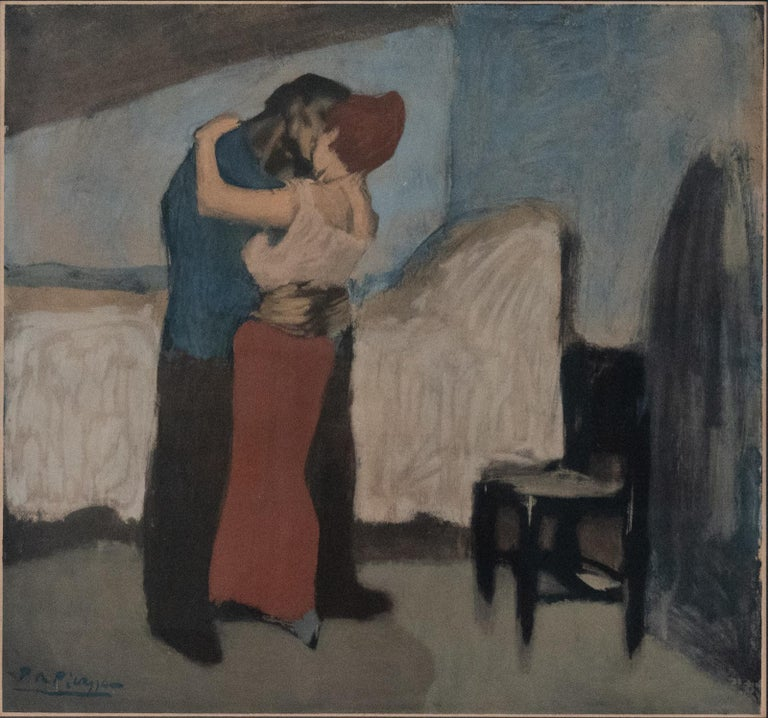 After Pablo Picasso (1881-1973)?The Embrace, offset lithograph in colours, on watermarked Arches paper, an impression aside from the standard edition of 125, published by Guy Spitzer, Paris, with his blindstamp, paper sheet trimmed – half Spitzer