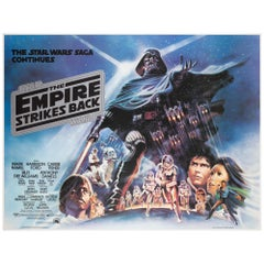 The Empire Strikes Back 1980 UK Quad Black Title Style Film Movie Poster, Jung