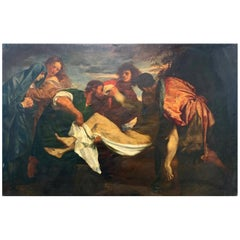 """""""The Entombment of Christ,"""" Fine Copy of Titian Masterpiece, Oil on Canvas"""
