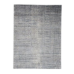 The Erased Moroccan Real Silk Modern Hand Knotted Oriental Rug