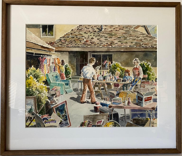 This contemporary vernacular water color of a yard sale in Eureka, California was painted by Alan Sanborn, a celebrated living artist, whose work has been seen in multiple galleries and museums. The painting is on water color paper, and is matted in
