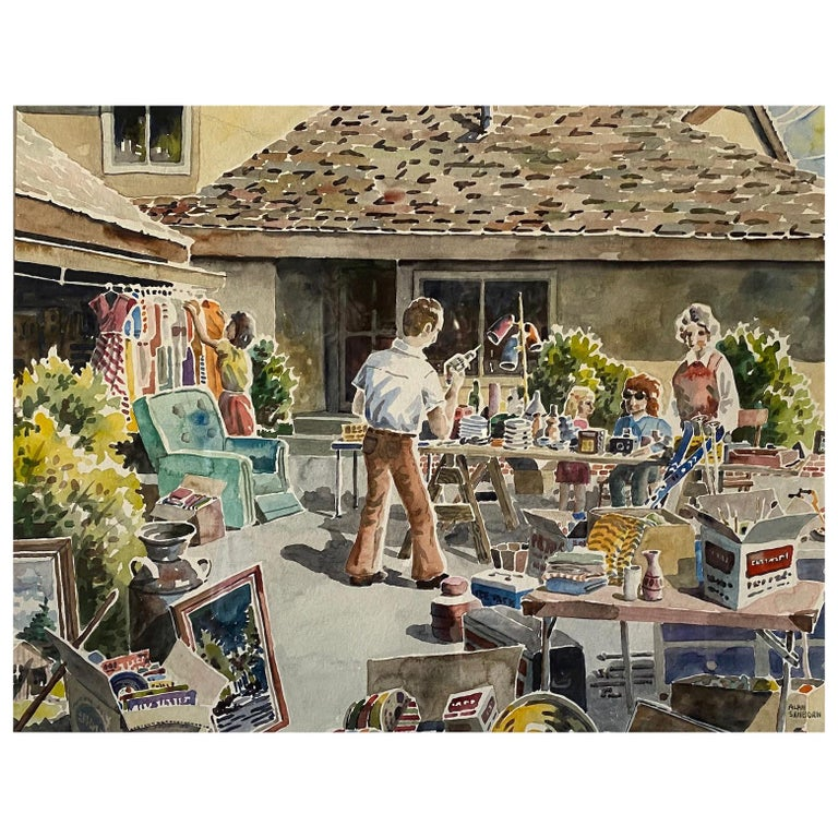 """The Estate Sale"", a Contemporary Water Color Painting, Alan Sanborn, circa 1990 For Sale"