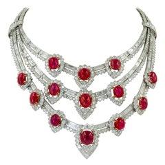 The Estee Lauder Van Cleef & Arpels Important Retro Ruby Diamond Necklace