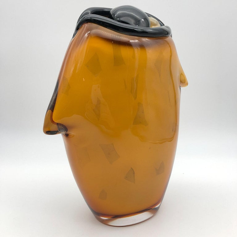 Italian The Eye Amber Vase by Toso Cristiano For Sale