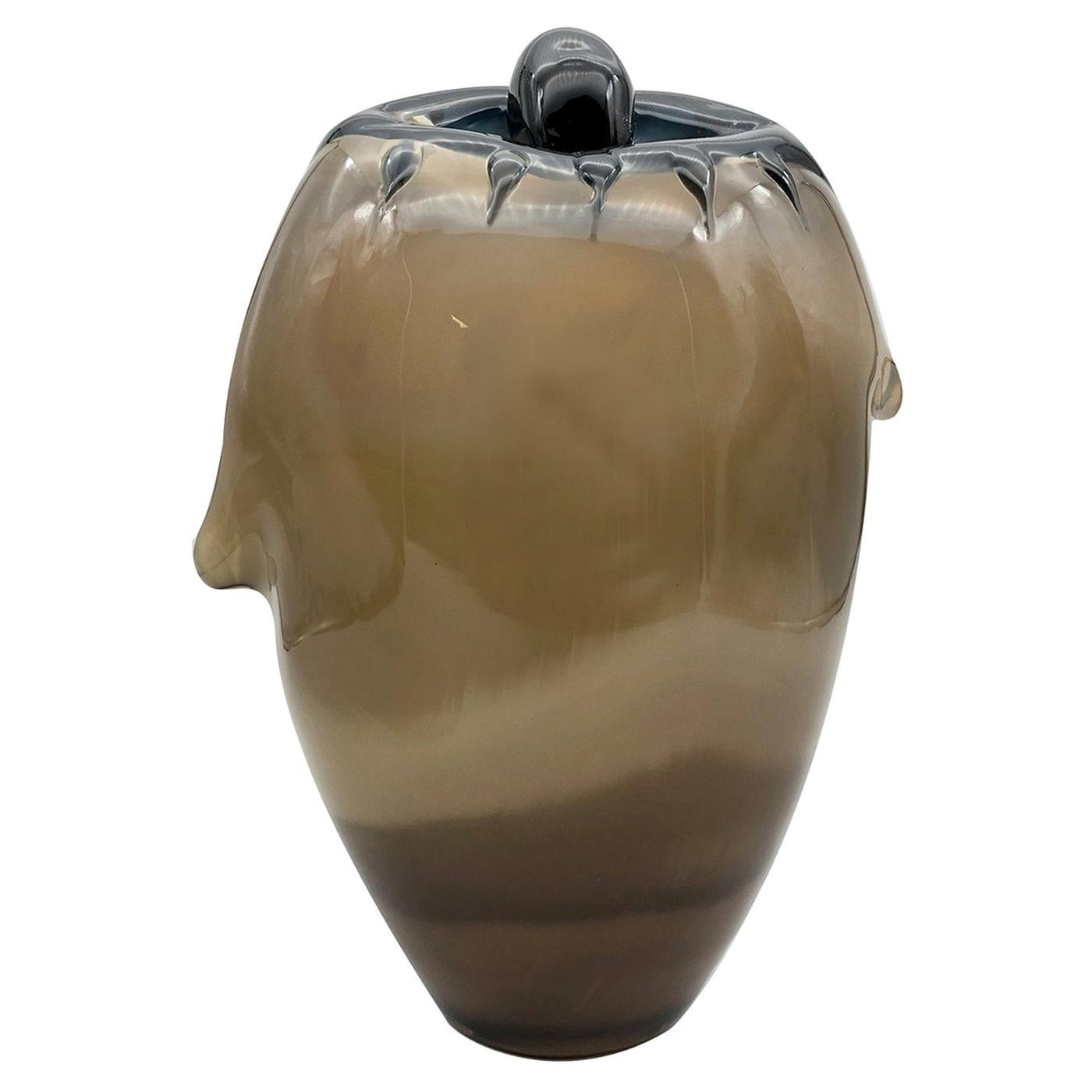 The Eye Dark Amber Vase by Toso Cristiano