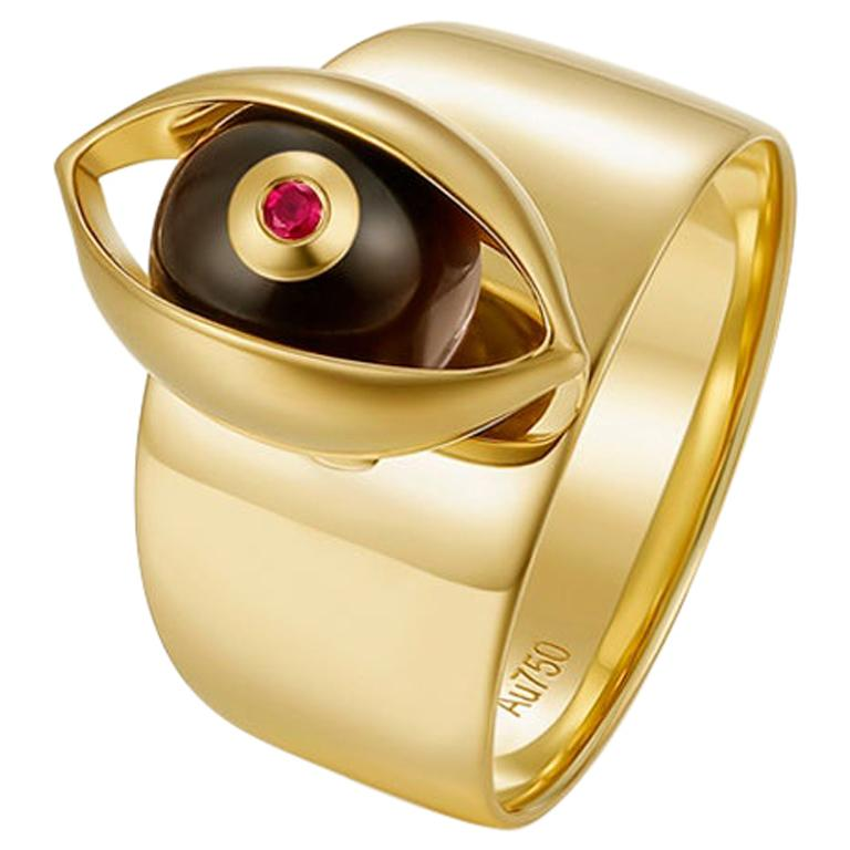 Eye Unisex Ring 18 Karat Yellow Gold Tiger's Eye Ruby Diamond For Sale