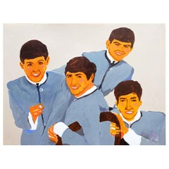 'The Fab Four' Beatles Portrait Painting by Alan Fears Acrylic on Paper