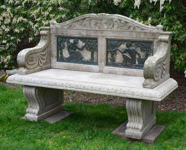 American The Fall Season Stone Bench For Sale