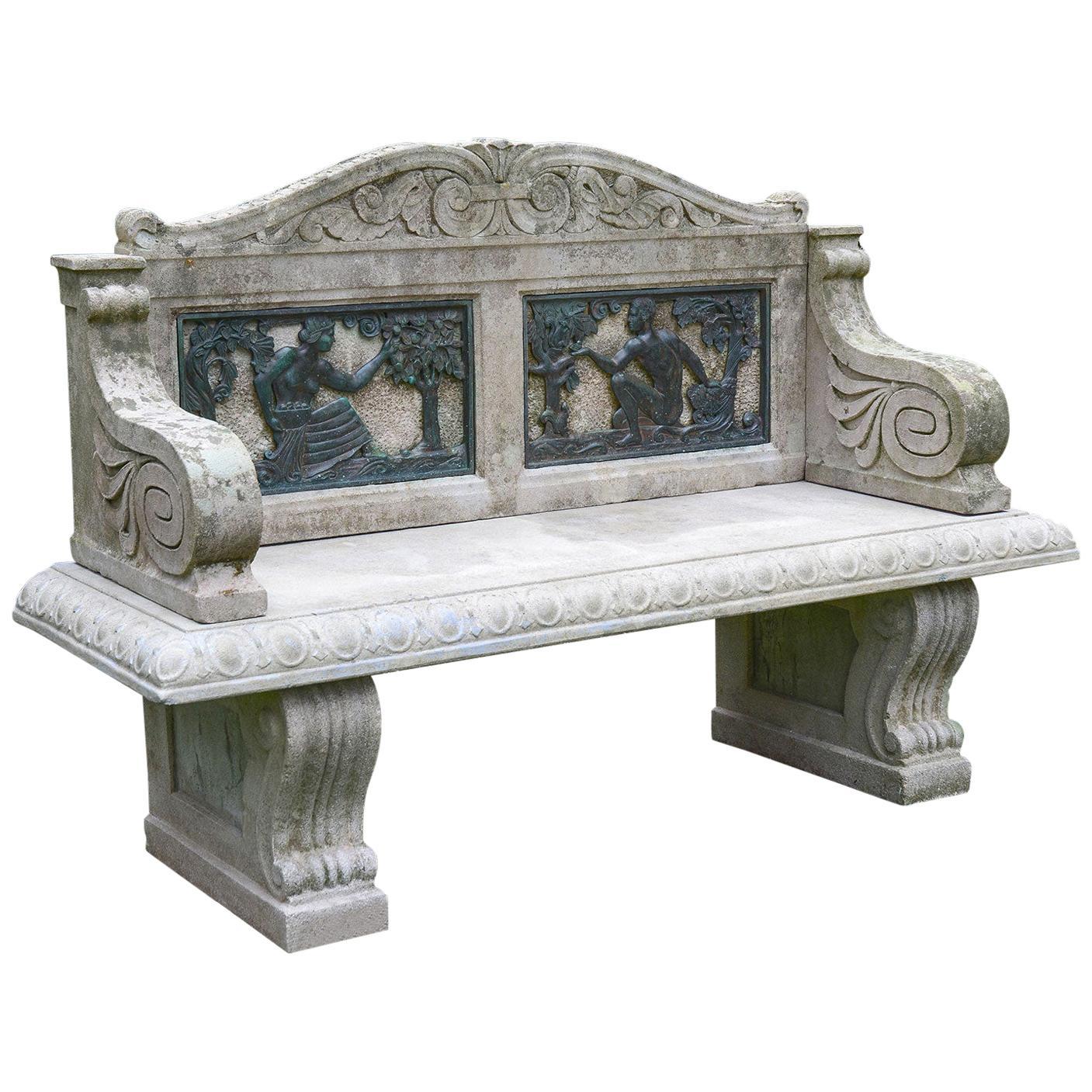 Stone Bench with Black Bronze Relief Sculptures