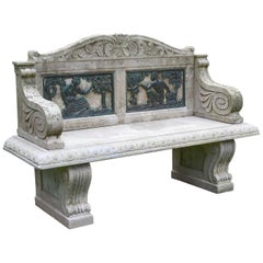 Stone Bench with Black Bronze Relief Sculptures