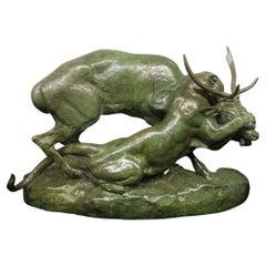 """The Famous Bronze Sculpture Entitled """"Panthère Saisissant Un Cerf"""" by Barye"""