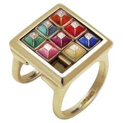 The Fidget Kinetic 9 Karat Yellow Gold and Enamel Ring
