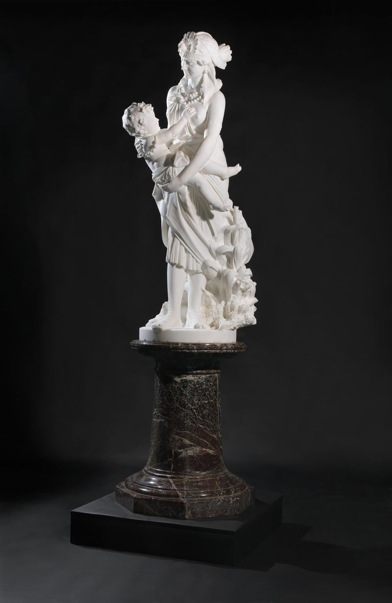 'The Finding of Moses' - An Important Florentine White Marble Figural Group, by Pietro Bazzanti on a carved Rosso Levanto Pedestal.   Italian, circa 1870.   Incised to the base 'P. Bazzanti , Firenze'.   The sculpture depicts the Pharaoh's