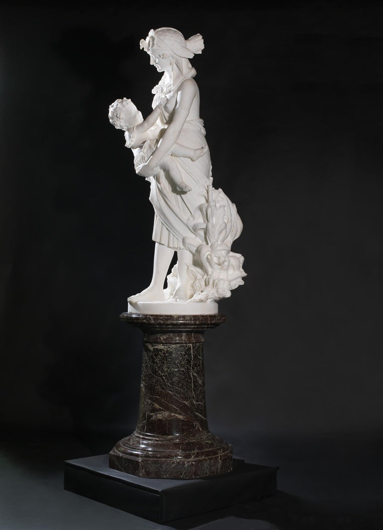 Italian 'The Finding of Moses', a Marble Figural Group by Pietro Bazzanti, circa 1870 For Sale