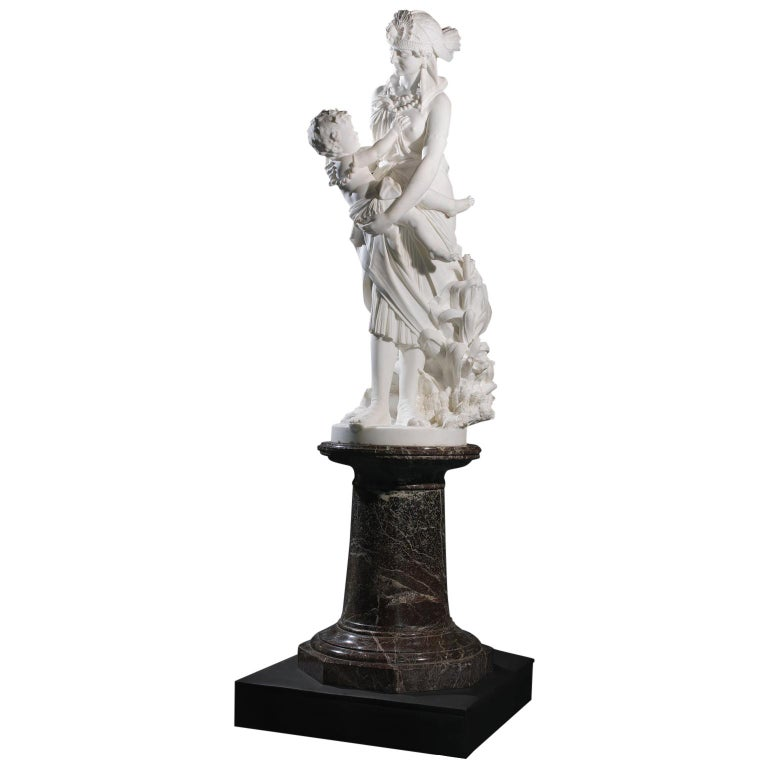 'The Finding of Moses', a Marble Figural Group by Pietro Bazzanti, circa 1870 For Sale