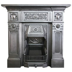 Fire Queen, a Large Antique Late Victorian Cast Iron Combination Fireplace