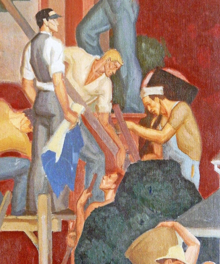 This important and very rare mural study, executed in oil on canvas, was painted by Dunbar Beck in the 1930s, evidently for a project that was never completed. The painting depicts in classic WPA manner a pyramid of American workers including a
