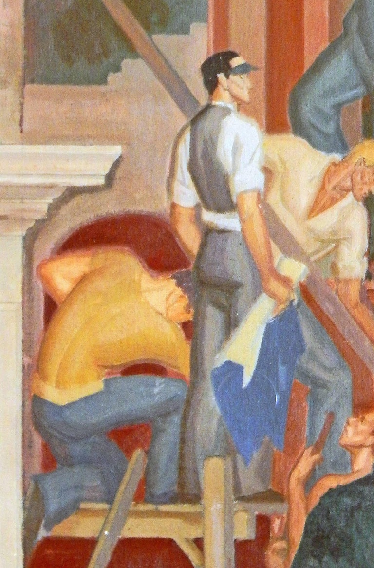 "American ""The First Requisite,"" Important Art Deco-WPA Mural Study Depicting Laborers For Sale"