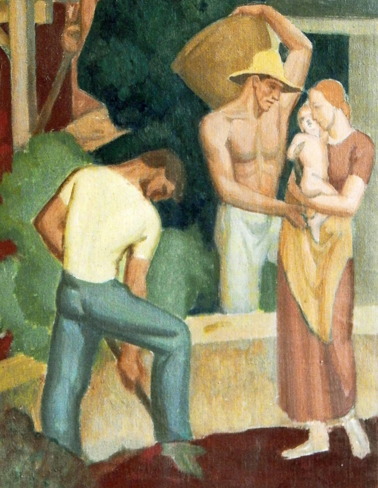 "Painted ""The First Requisite,"" Important Art Deco-WPA Mural Study Depicting Laborers For Sale"