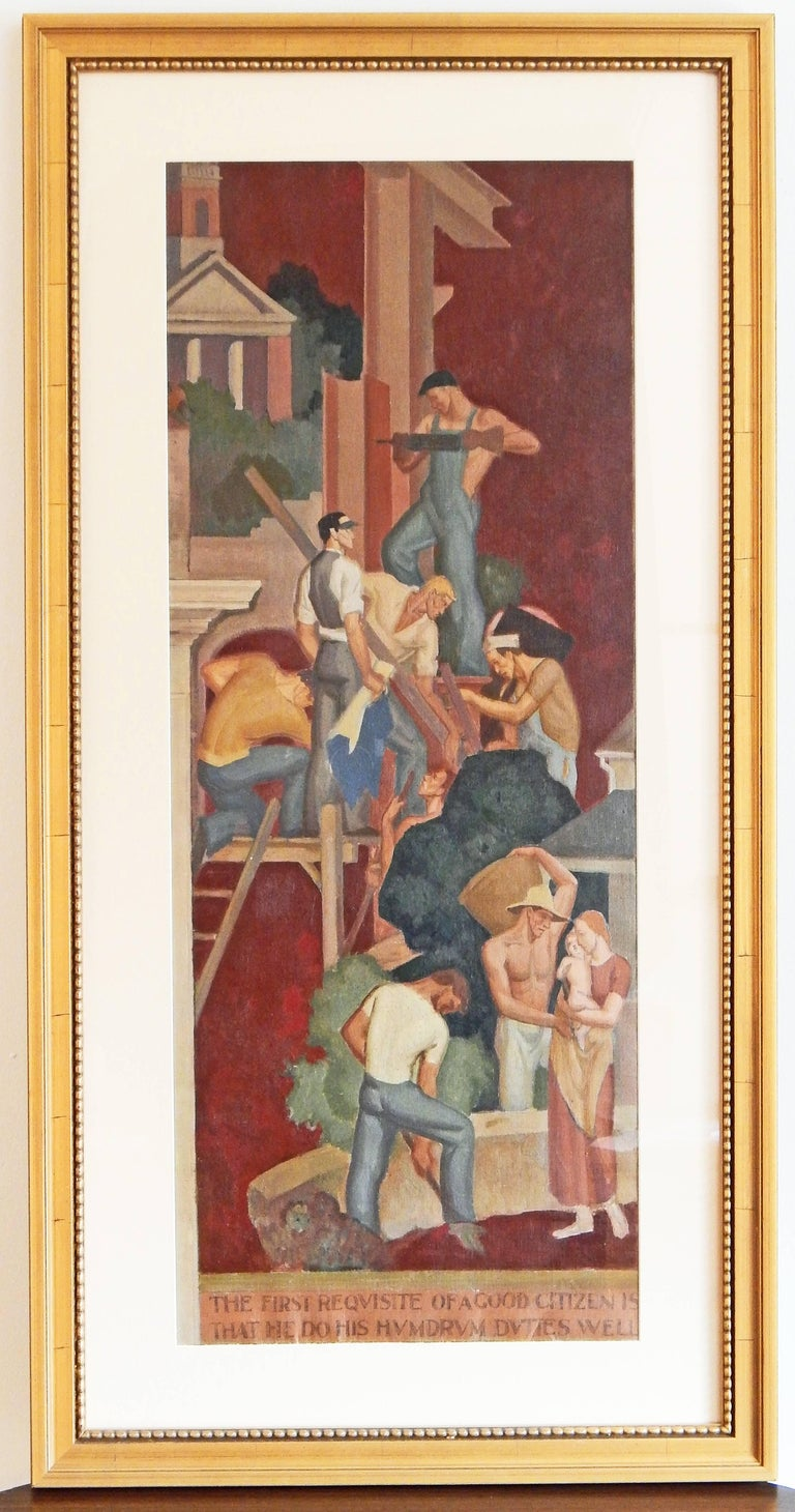 """The First Requisite,"" Important Art Deco-WPA Mural Study Depicting Laborers In Excellent Condition For Sale In Philadelphia, PA"