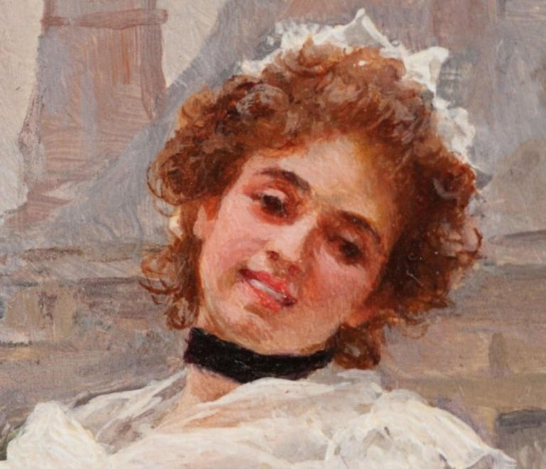 The flower girl by Louis Marie de Schryver (French 1862-1942) dated '96 and signed Louis de Schryver on verso. Oil on panel. Measuring 6 1/8 by 4 1/2 inches. Literature: Benezit Dictionary of Artists, volume 12, page 790.