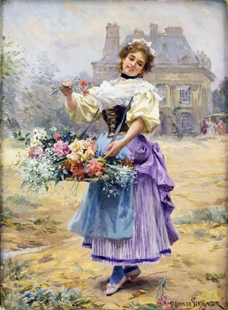 Flower Girl by Louis Marie de Schryver In Good Condition For Sale In Palm Beach, FL