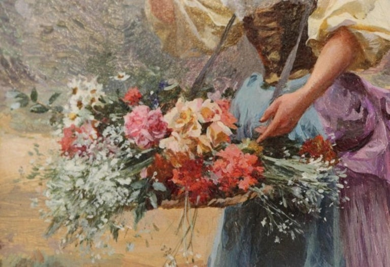 Late 19th Century Flower Girl by Louis Marie de Schryver For Sale