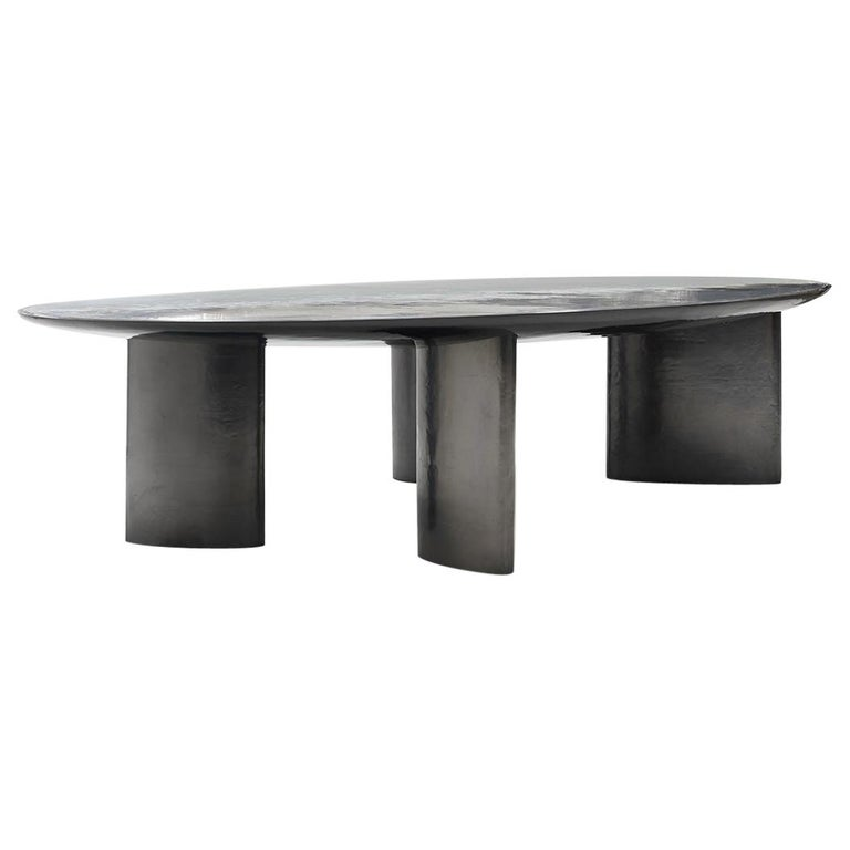Privatiselectionem The Foch liquid aluminium, silver and gunmetal dining table