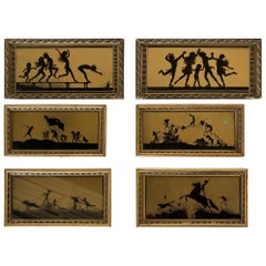 """""""The Four Seasons"""" Silhouette Print in Original Frame by Fidus, Set of Six"""