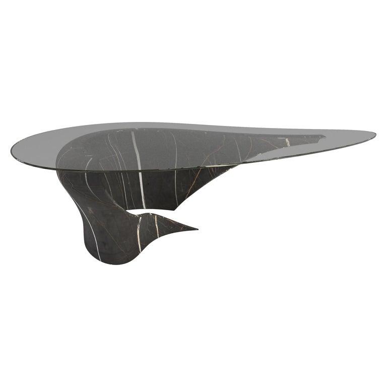 """The Diamond G"" Carved Sahara Noir Marble Coffee Table by Grzegorz Majka For Sale"