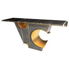 The Galactic 21st Century Sculpture Marble Brass Console Table by Grzegorz Majka