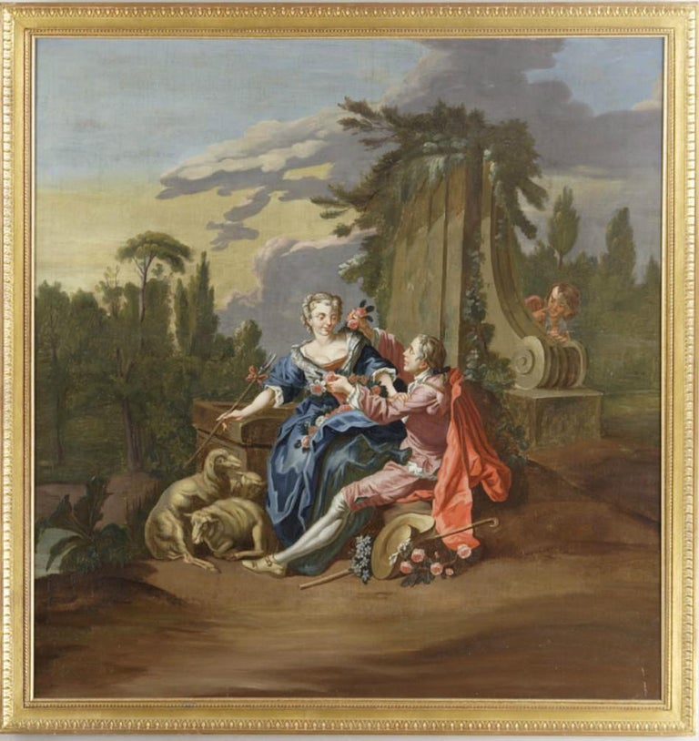 Oil on canvas depicting a gallant scene set in a landscape of ruins. The man in the painting is hanging a garland of flowers on a young shepherdess. At her feet are her three sheep, her hat, her cane, and a bouquet of flowers. Hiding behind the