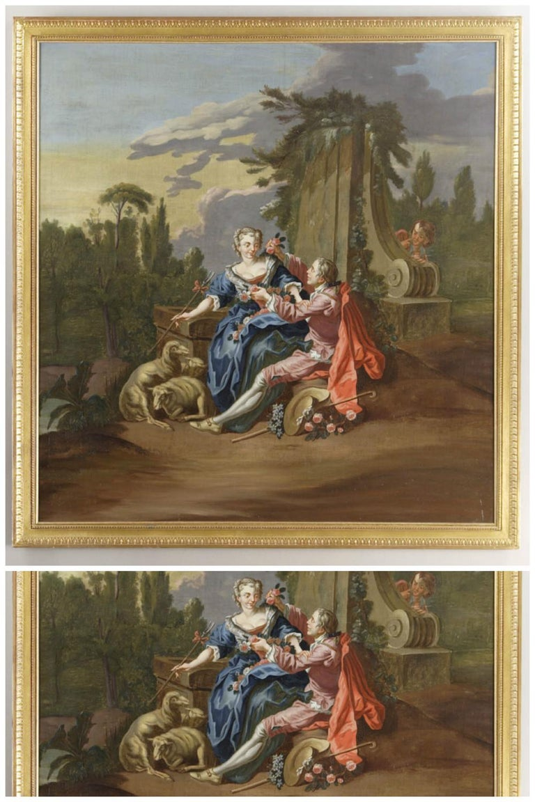 French The Gallant Shepherd after François Boucher For Sale