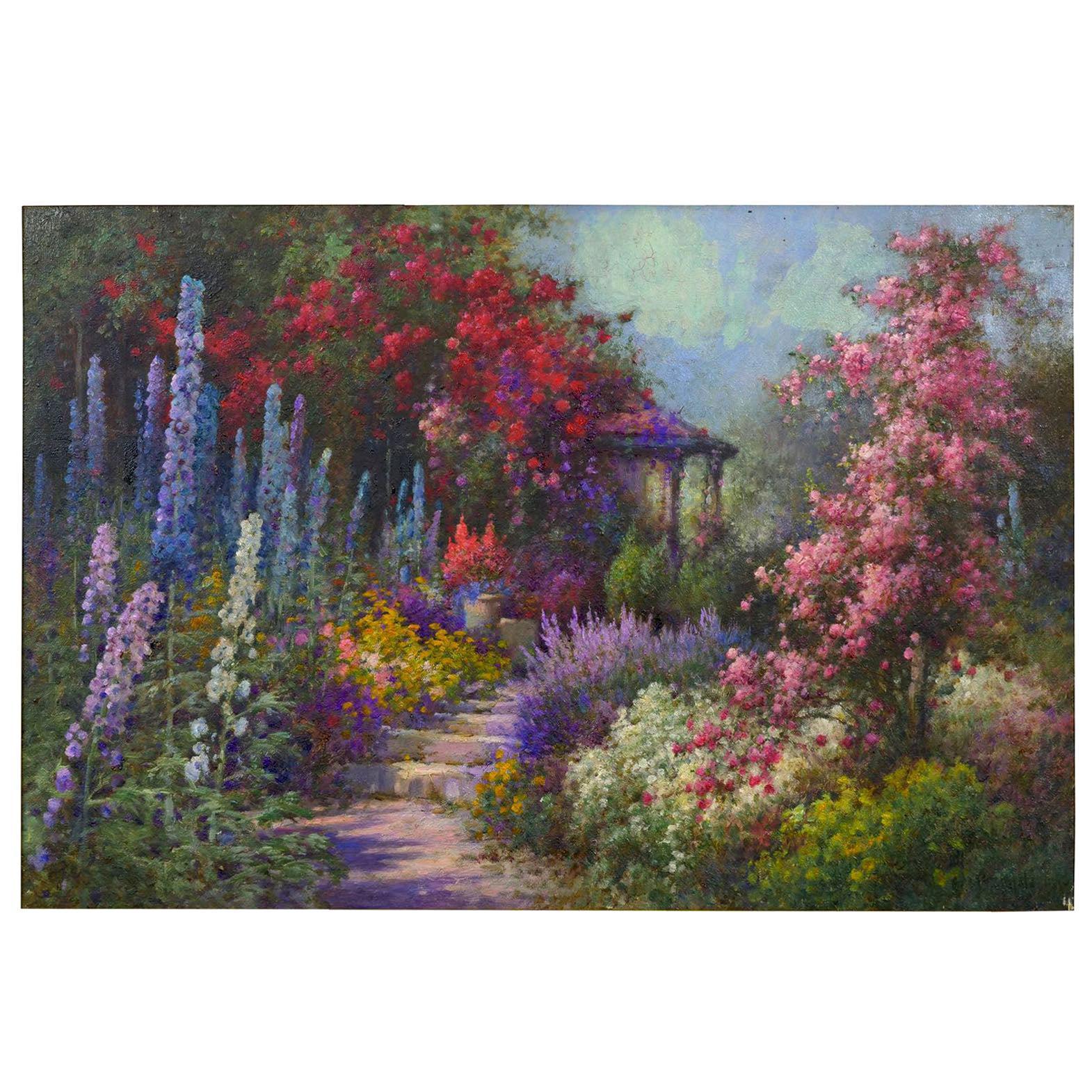 """The Garden Bungalow"" English Oil Painting by Alfred Fonteville de Breanski Jr"