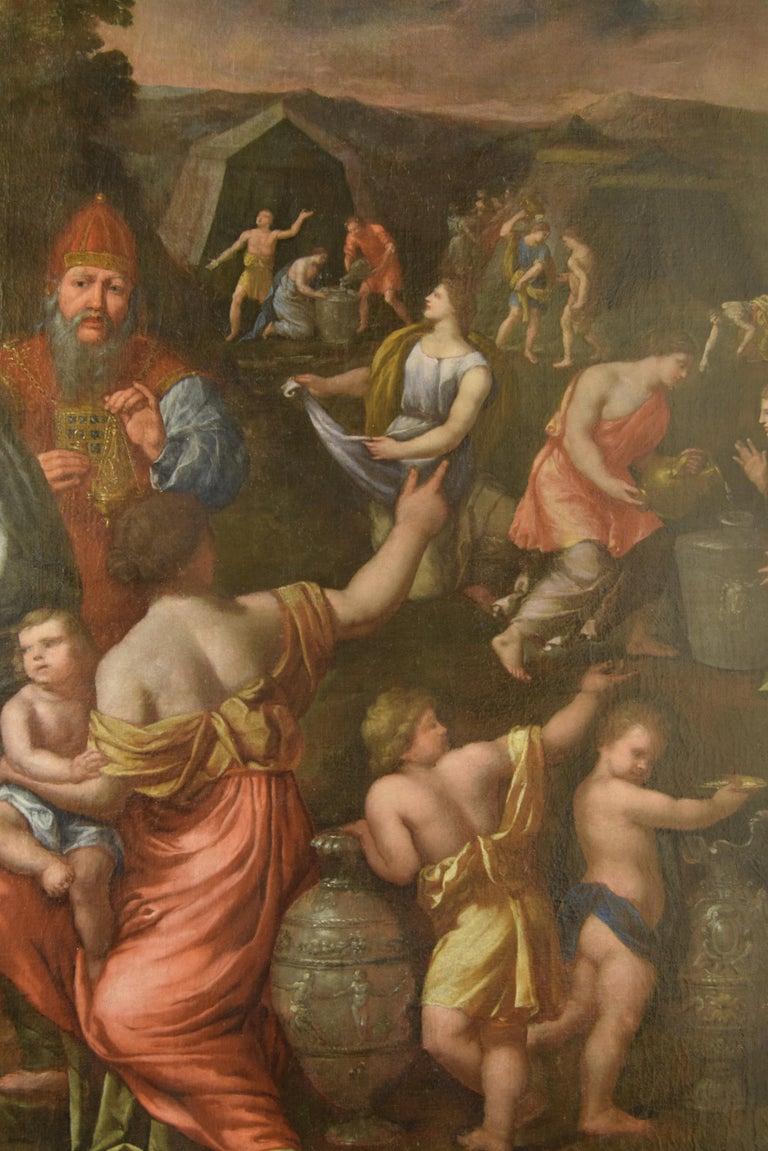 Spanish Gathering of Manna, Oil on Canvas, 17th Century For Sale