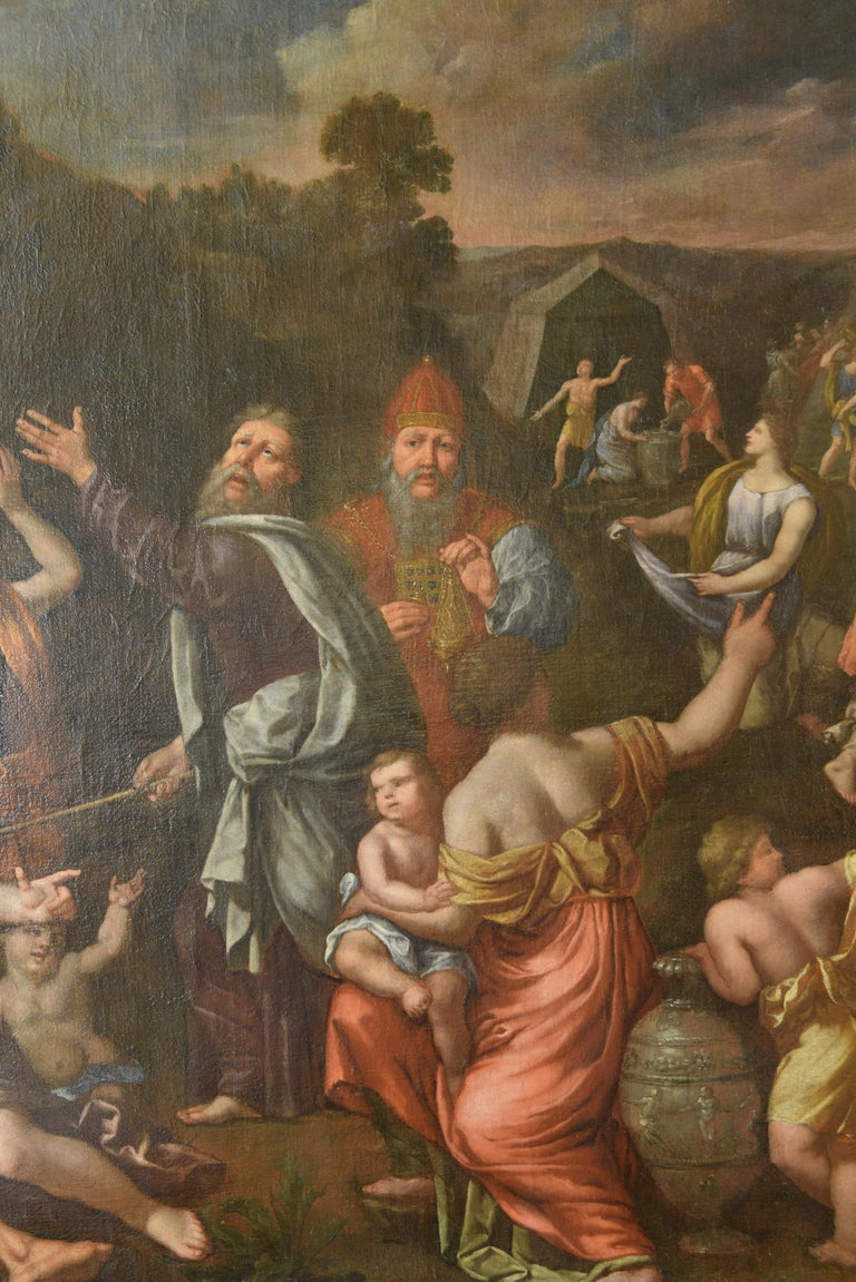 Gathering of Manna, Oil on Canvas, 17th Century In Fair Condition For Sale In Madrid, ES