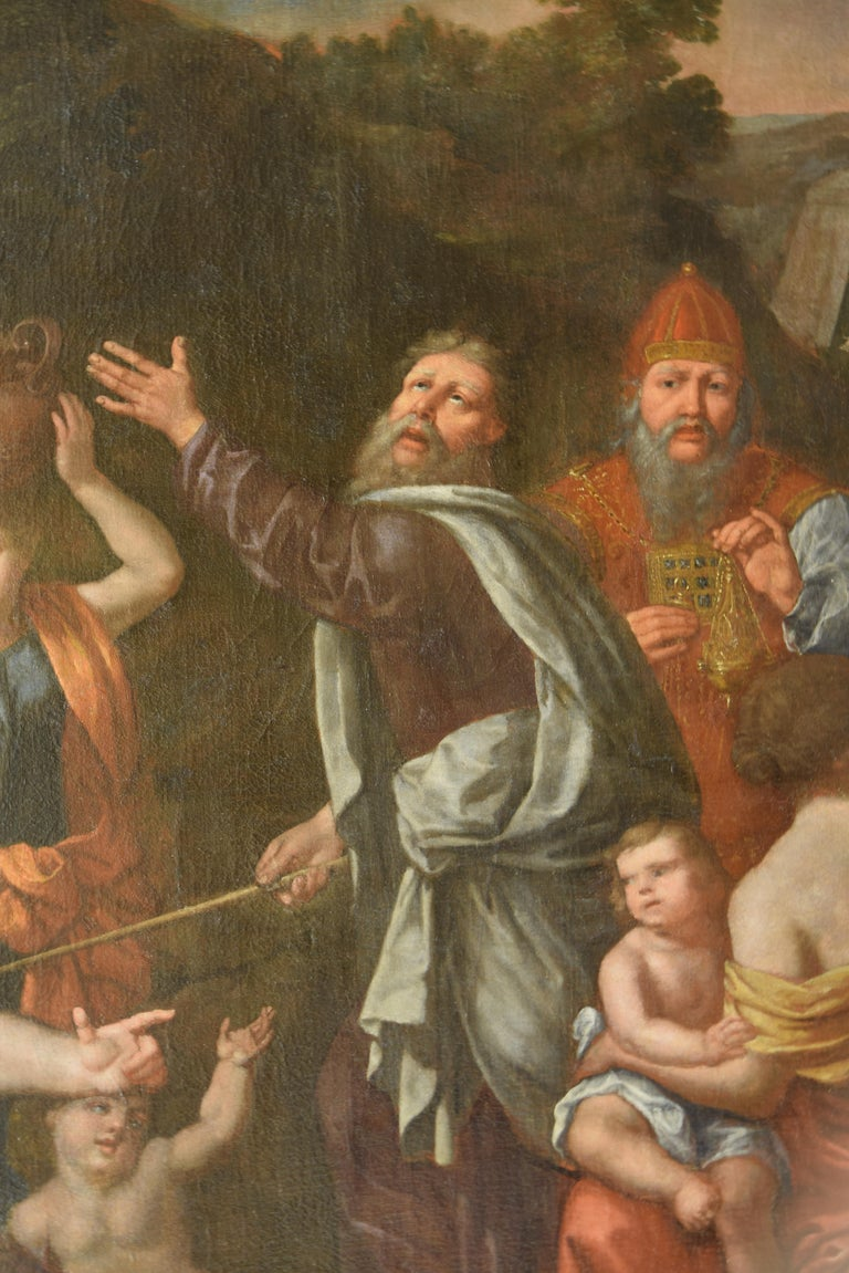 18th Century and Earlier Gathering of Manna, Oil on Canvas, 17th Century For Sale