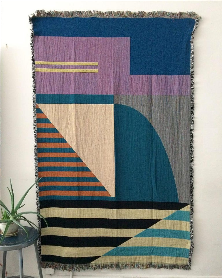 Modern Geometric Woven Throw Blanket For Sale