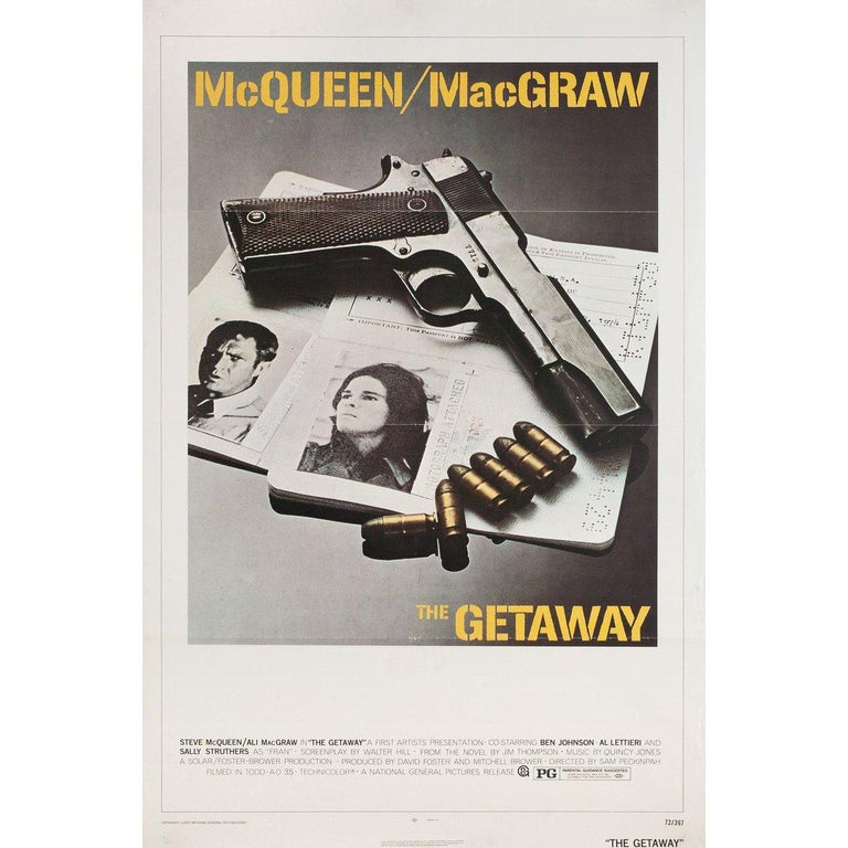 Original 1972 U.S. one sheet poster by Bill Gold for the film 'The Getaway' directed by Sam Peckinpah with Steve McQueen / Ali MacGraw / Ben Johnson / Sally Struthers. Very good-fine condition, tri-fold. Many original posters were issued folded or