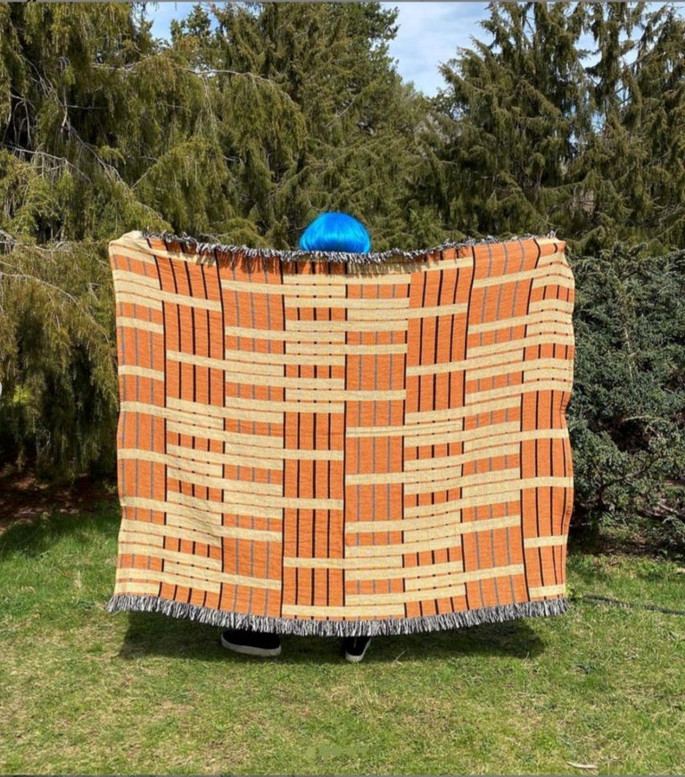 American Ginger Woven Throw Blanket For Sale