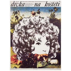 'The Girl on the Broomstick' 1972 Czech A1 Film Poster
