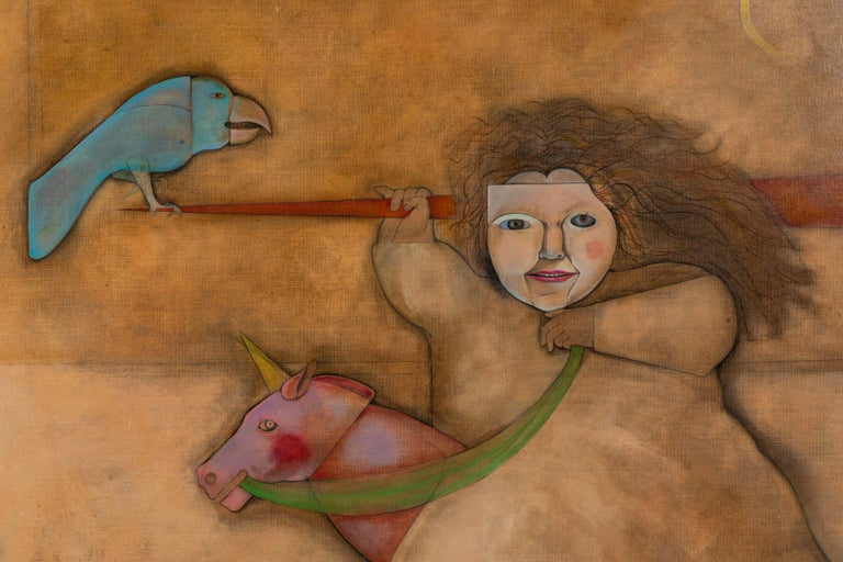 The girl who just went along for the night ride an visually curious painting by Mary Spain and dated 1979. There is a wonderful use of images in this painting. Here is a bio taken from can journal on line:  Born in Raleigh, North Carolina, Mary