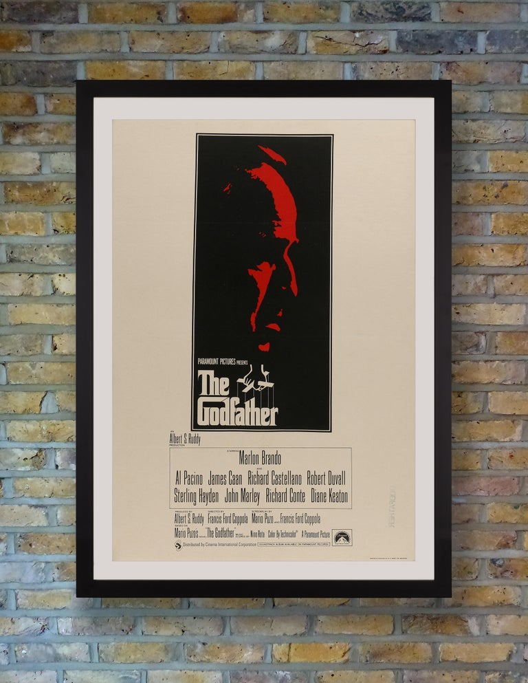 British One Sheet Backed on linen Art by S. Neil Fujita Printed in England by W.E. Berry Ltd. Bradford  Widely celebrated as one of the best and most influential movies of all time, Francis Ford Coppola's 1972 mafia masterpiece 'The Godfather,'
