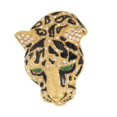 The Gold and Black Calm Tiger Face Brooch with Crystal Rhinestones and Jade Eyes