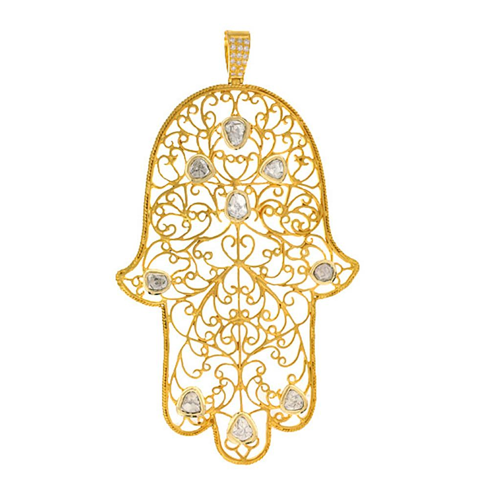 The Gold Hamsa Pendant with Diamonds